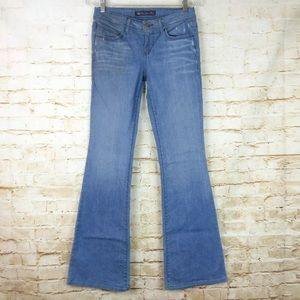 Divine Rights of Denim Flare Blue Jeans Distressed